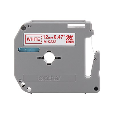 Fita para rotulador Brother M-K232 branca escrita vermelha plástica Brother BT 1 UN