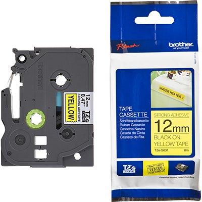 Fita para rotulador Brother TZe-S631 amarela escrita preta plástica laminada Brother BT 1 UN
