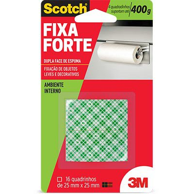 Fita adesiva dupla face espuma Fixa Forte 25mmx25mm Scotch 3M BT 16 UN