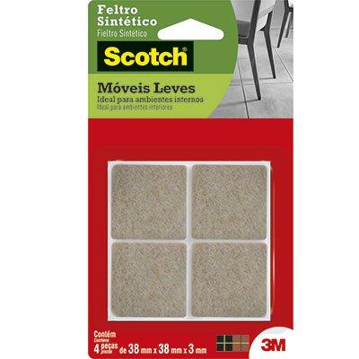 Feltro adesivo marrom quadrado 38x38x3mm Scotch 3M PT 4 UN