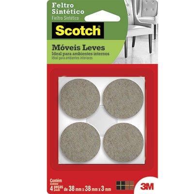Feltro adesivo marrom redondo 38x38x3mm Scotch 3M PT 4 UN