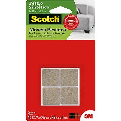 Feltro adesivo marrom quadrado 25x25x5mm Scotch 3M PT 12 UN