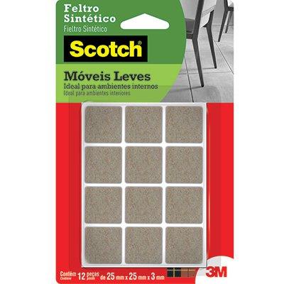 Feltro adesivo marrom quadrado 25x25x3mm Scotch 3M BT 12 UN