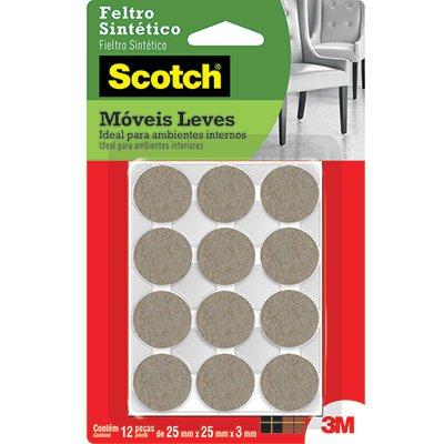 Feltro adesivo marrom redondo 25x3mm Scotch 3M BT 12 UN