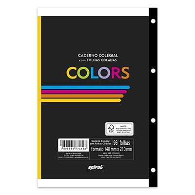 Caderno colegial c/96 fls coladas colors 74526 Spiral CX 1 UN