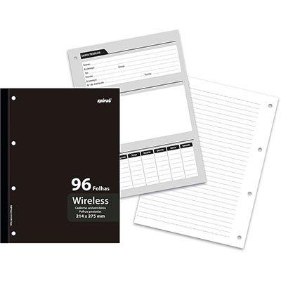 Caderno universitário 1x1 96 folhas coladas wireless Preto 12708 Spiral PT 1 UN