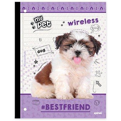Caderno univ.1x1 96fls coladas Wireless My Pet 20413 Spiral Pet PT 1 UN