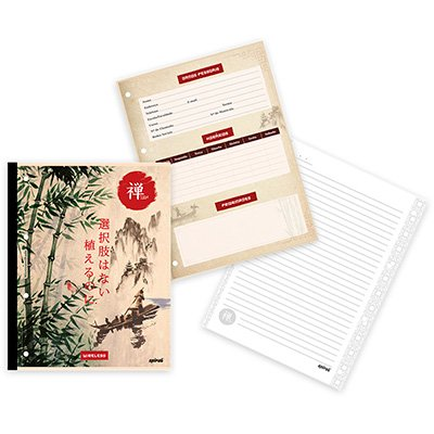 Caderno univ.1x1 96fls coladas Wireless Zen 20420 Spiral Zen PT 1 UN