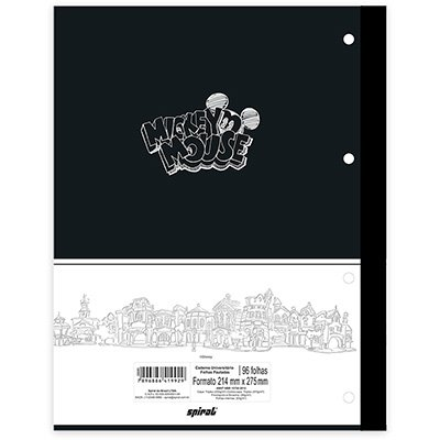 Caderno univ.1x1 96fls coladas Wireless Mickey 20399 Spiral Mpb PT 1 UN