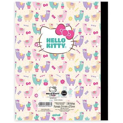 Caderno universitário 1x1 96fls coladas Wireless Hello Kitty 20407 Spiral Hki  PT 1 UN