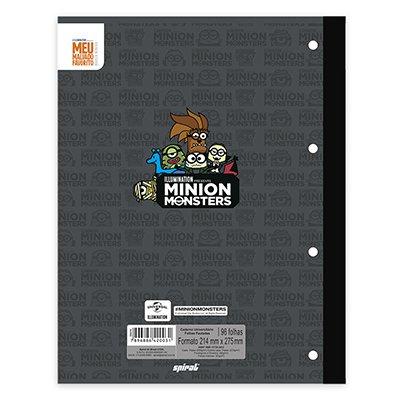 Caderno univ.1x1 96fls coladas Wireless Minion 20412 Spiral Mim PT 1 UN