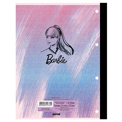 Caderno universitário 1x1 80 folhas coladas wireless Barbie 213107 Spiral PT 1 UN