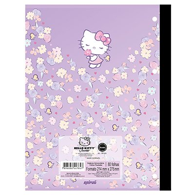 Caderno universitário 1x1 80 folhas coladas wireless Hello Kitty 213130 Spiral PT 1 UN