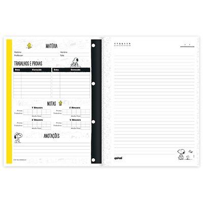 Caderno universitário 1x1 80 folhas coladas wireless Snoopy 213159 Spiral PT 1 UN