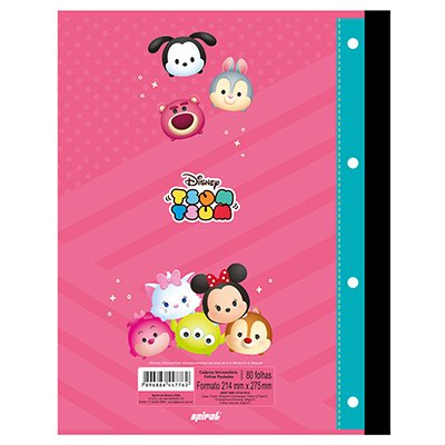 Caderno universitário 1x1 80 folhas coladas wireless Disney Tsum Tsum 213121 Spiral PT 1 UN