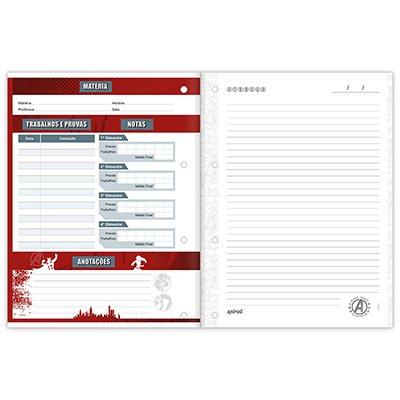 Caderno universitário 1x1 80 folhas coladas wireless Marvel Red Brick 213145 Spiral PT 1 UN