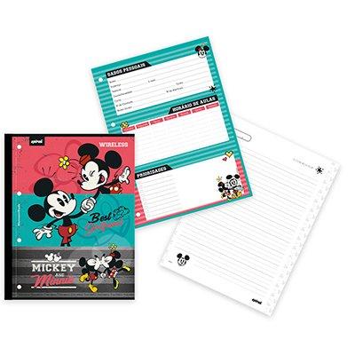 Caderno universitário 1x1 80 folhas coladas wireless Disney Mickey & Minnie 213115 Spiral PT 1 UN