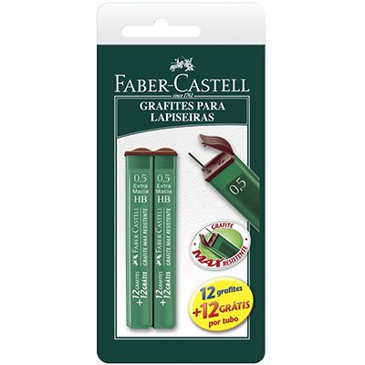 Minas grafite 0.5mm HB SM/TMG05HB Faber Castell BT 2 UN