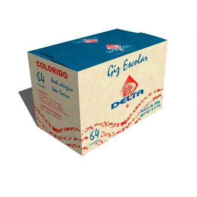 Giz escolar comum colorido c/64 palitos 404 Delta CX 1 UN