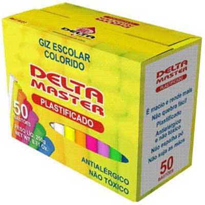 Giz escolar plastificado colorido c/50 palitos 3152 Delta CX 1 UN