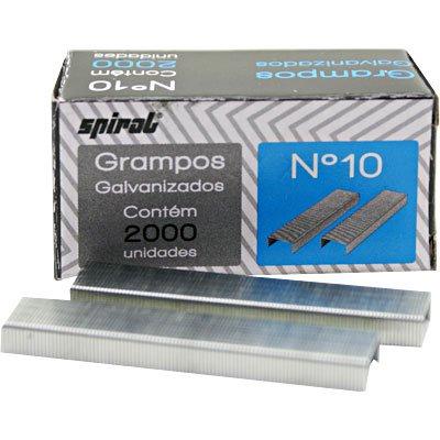 Grampo p/grampeador n.10 galvanizado Spiral Grampos CX 2000 UN