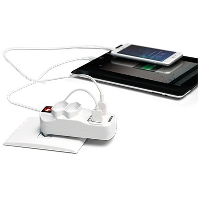 Multiplicador de tomada 2 tomadas e 2 USB bc EAC1002 Intelbras PT 1 UN
