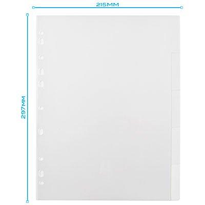 Divisória para Fichário A4 2 ou 4 Argolas com 5 projeções Transparente  DV05TR Plascony PT 1 UN