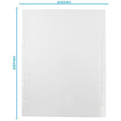 Divisória para Fichário A4 2 ou 4 Argolas com 10 projeções Transparente  DV10TR Plascony PT 1 UN