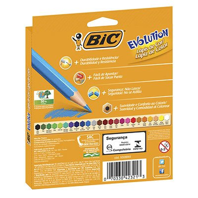 Lápis de Cor 24 cores sextavado Evolution 902638 BIC CX 1 UN
