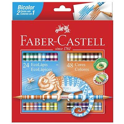 Lápis de Cor 48 cores redondo (24 bicolor)120624G Faber Castell CX 1 UN