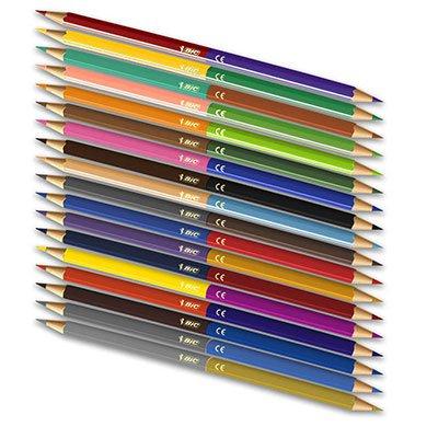 Lápis de Cor 36 cores sextavado c/18 lápis bicolor 7422112 BIC CX 1 UN