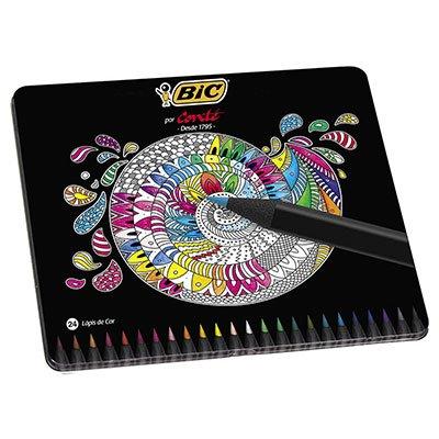 Lápis de Cor 24 cores Conté lata 930068 Bic PT 1 UN