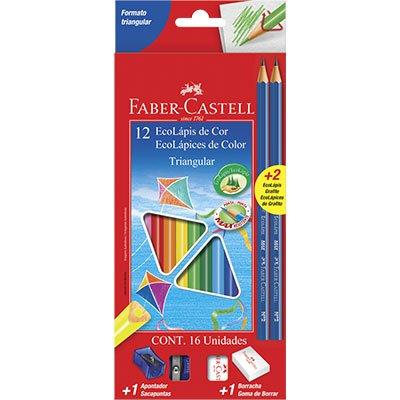Lápis de Cor 12 cores triangular 1205122N Faber Castell ET 1 UN