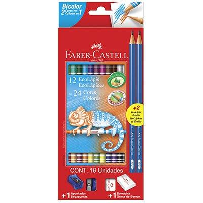 Lápis de Cor 24 cores redondo (12 bicolor) 120612+2N Faber Castell CX 1 UN