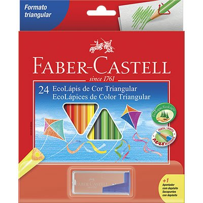 Lápis de Cor 24 cores triangular c/ apontador 120524 Faber Castell CX 1 UN