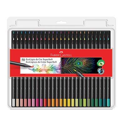 Lápis de Cor 50 cores redondo SuperSoft Ecolápis 120750SOFT Faber Castell BT 1 UN