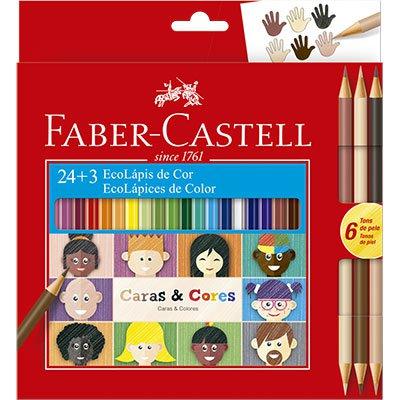 Lápis de Cor Caras e Cores 24 Cores + 6 Tons De Pele Faber Castell CX 1 UN