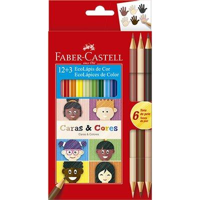 Lápis de Cor Caras e Cores 12 Cores + 6 Tons De Pele Faber Castell CX 1 UN
