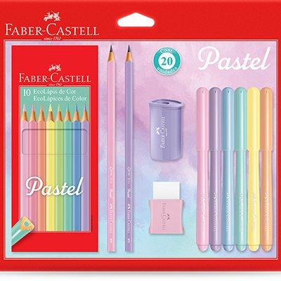 Kit Tom Pastel Faber Castell, Lápis de cor, Lápis preto N.2, Canetinha Vai e Vem, Apontador e Borracha CX 1 UN