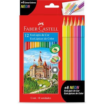 Lápis de Cor 12 cores sextavado 120112+6N Faber Castell CX 1 UN