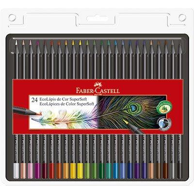 Lápis de Cor 24 cores redondo SuperSoft 120724SOFT Faber Castell PT 1 UN