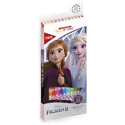 Lápis de Cor 12 cores sextavado Frozen 684987 Tris CX 1 UN