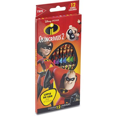 Lápis de Cor 12 cores Super Incríveis 687902 Tris CX 1 UN
