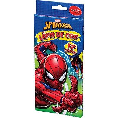 Lápis de Cor 12 Cores Spider Man - Homem Aranha Molin CX 1 UN