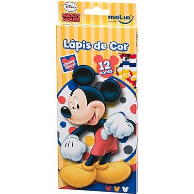 Lápis de Cor 12 cores Mickey sortido 22640 Molin BT 1 UN