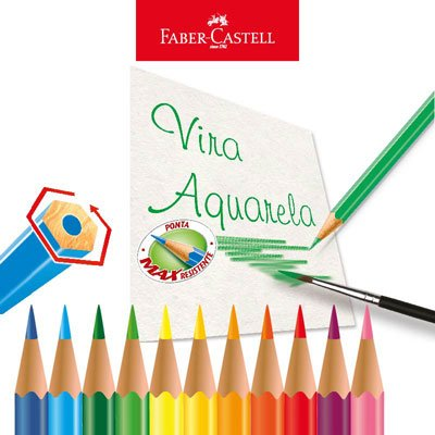 Lápis de cor 48 cores Aquarelável sextavado 120248 Faber Castell PT 1 UN
