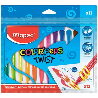 Giz de cera 12 cores Color Peps Twist retrátil 860612 Maped ET 1 UN