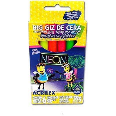 Giz de cera 06 cores neon glitter 09806 Acrilex PT 1 UN