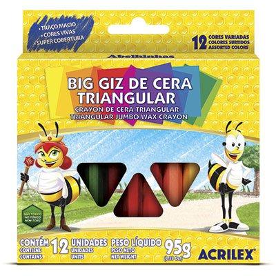 Giz de cera 12 cores gizão triangular 09312 Acrilex CX 1 UN