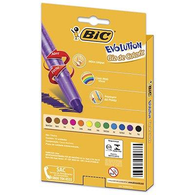 Giz de resina 12 cores com regulagem de ponta 742362 Bic  CX 1 UN